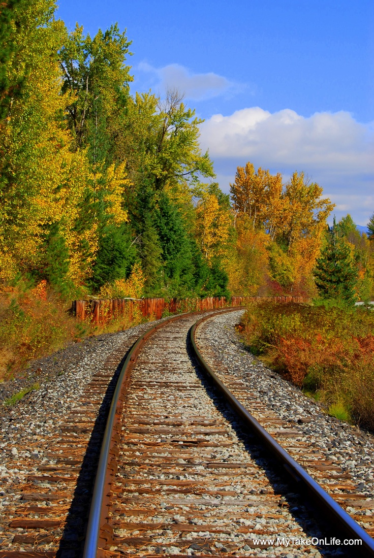 Railroad tracks in Autumn Sandpoint, Idaho