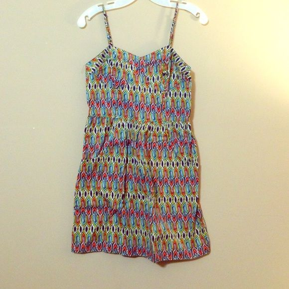Multicolored Summer Dress Fun patterned bustier dress, with pockets! Navy, white, yellow, orange, and turquoise pattern mini-dress. Mossimo Supply Co Dresses Mini