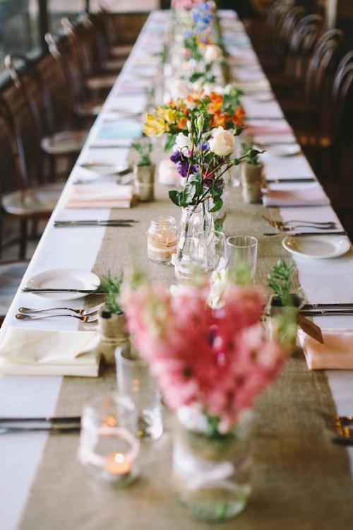 To Be Frank Weddings - Wedding Planning, wedding flowers, long table, hessian runner, jar, flowers, lace twine jars, mixed flowers, bentwood chairs, Belganny farm Camden NSW