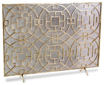 """Kathy Kuo Home - Pyra Modern Transitional Gold Leaf Medallion Fireplace Screen - """"Beautifully constructed from hand wrought iron, this medal..."""