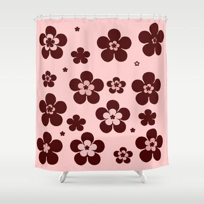 Pink with brown flowers Shower Curtain by Celeste - $68.00  #homedecor #bathroom can be used as regular curtains too.