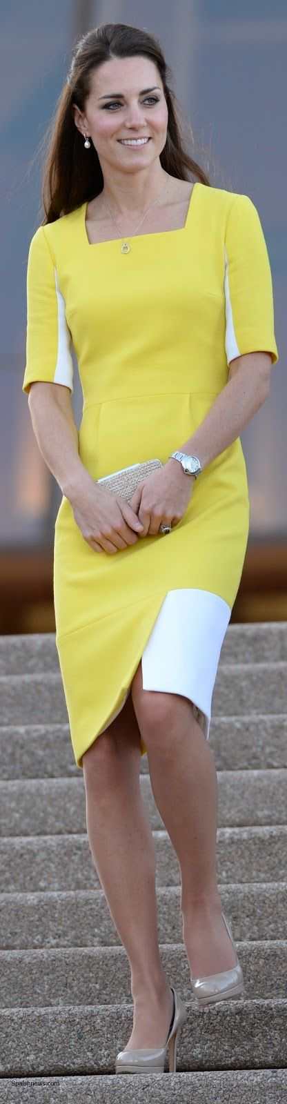 Catherine, Duchess of Cambridge, aka Kate Middleton, in Sydney, Australia. She is wearing a customized dress by Roksanda Ilincic, pearl drop earrings by Annoushka, her Natalie clutch and Sledge Heels from LK Bennett. 4/16/14