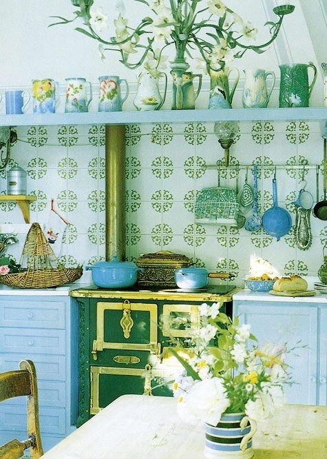 72 best blue and green cottage images on pinterest for Yellow green kitchen ideas