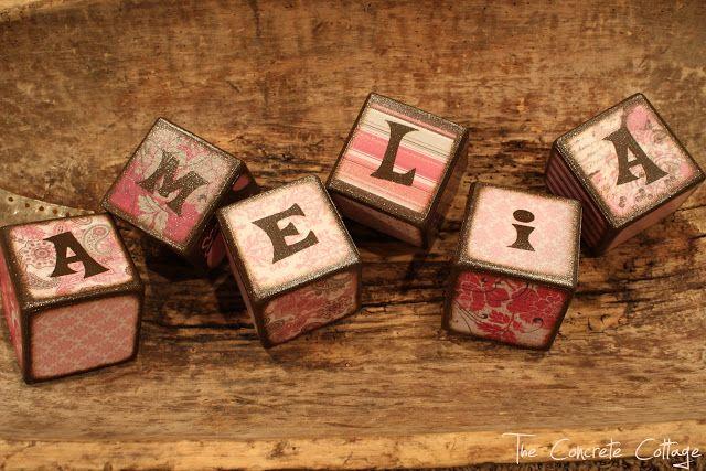 The Concrete Cottage: Baby Name Blocks ~ GIRL:  Amelia