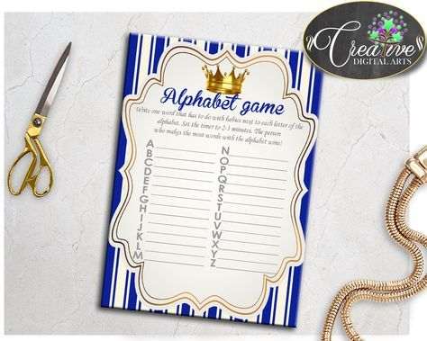 Now available at our store: Royal Baby Shower.... Check it out here! http://snoopy-online.myshopify.com/products/royal-baby-shower-boy-alphabet-game-with-gold-crown-and-royal-blue-color-theme-digital-file-jpg-and-pdf-instant-download-rp001