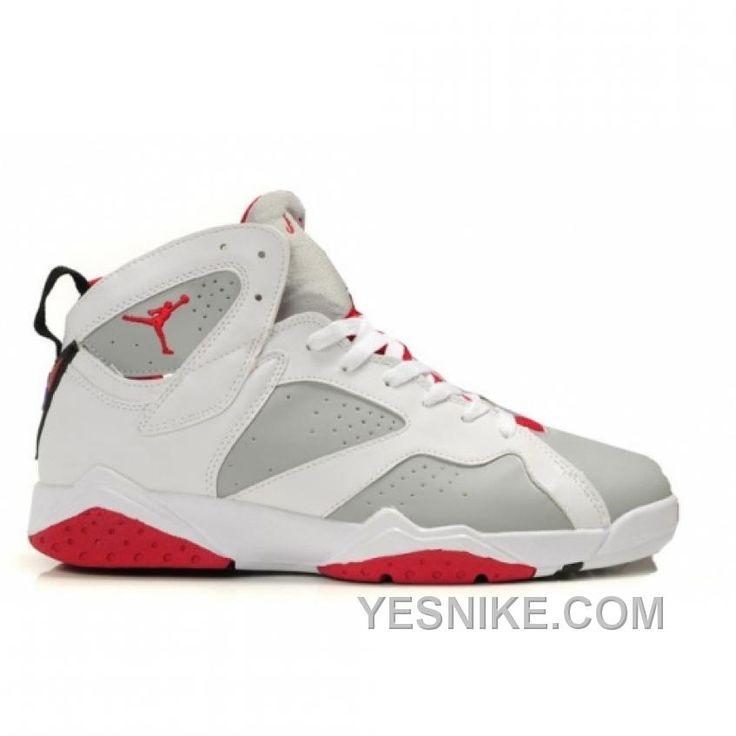 Air Jordan Retro 7 Shoes White Grey Red