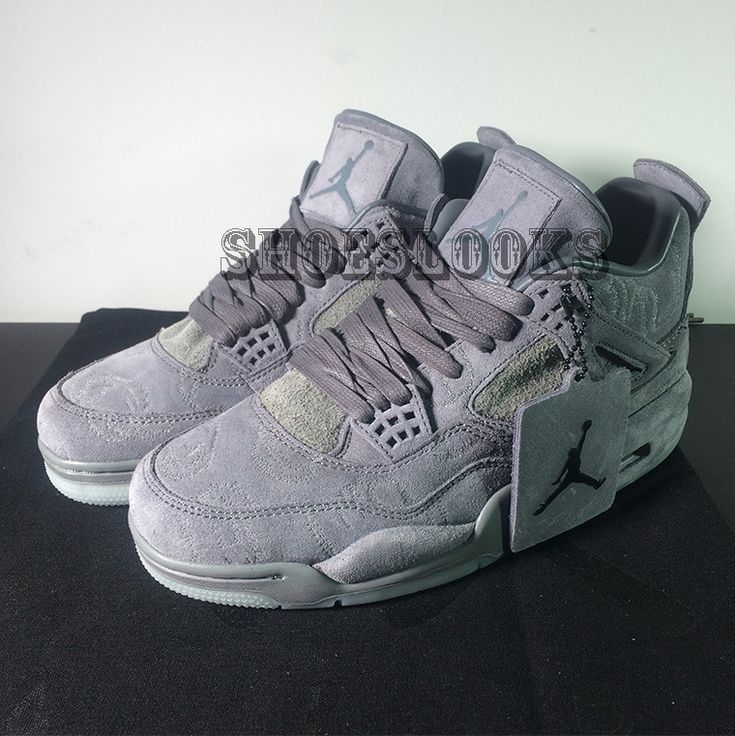 "KAWS x Air Jordan 4 ""Cool Grey""gray suede final version"