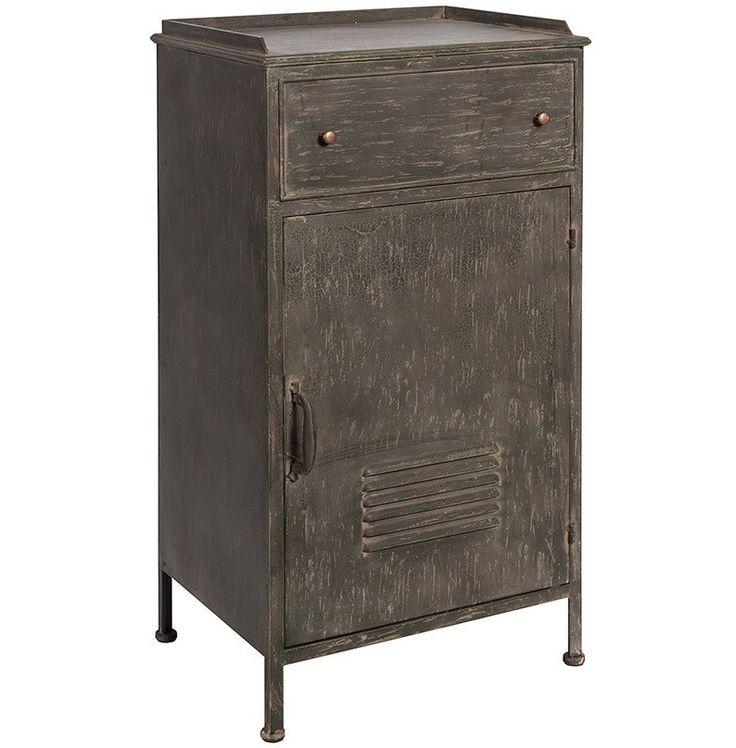 Charakterystyczna i przykuwająca uwagę ciemna szafka loft , zachwyca swoim wyglądem. Przecierana farba i miedziane dodatki sprawiają, ze ta metalowa szafka nadaje naszemu wnętrzu klimat dawnych czasów. Ta nietuzinkowa szafka jest bardzo pojemna, posiada jedną szufladę i dużą półkę z otwieranymi drzwiczkami. Wierzch szafki może posłużyć jako biurko.