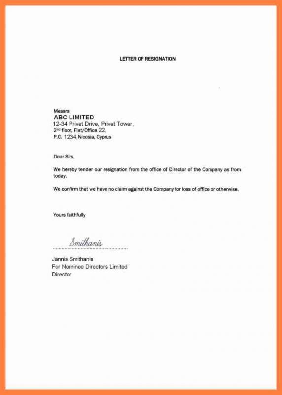 letter of resignation template free template pinterest