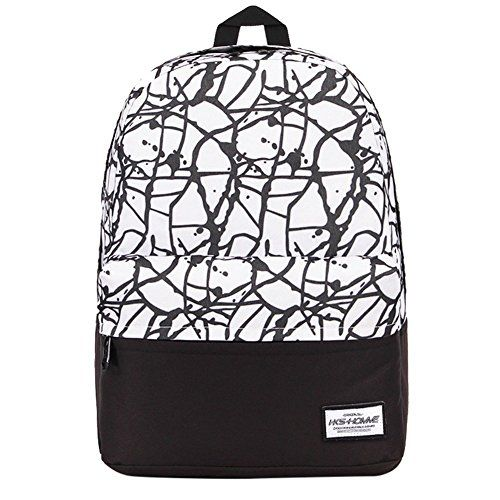 Sanpack Teens Girls Canvas Back Packs Paint High School Backpack White -- (This is Amazon Affiliate Link) Click image for more details.
