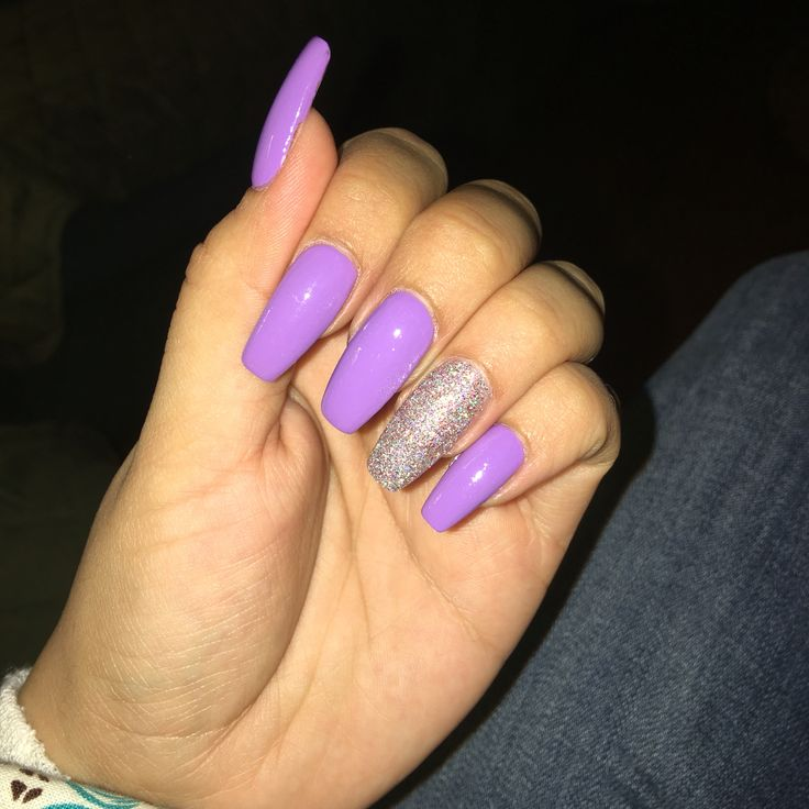 Lavender Coffin Nails With Glitter Accent