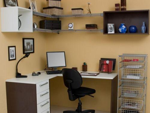 modernes und stilvolles husliches arbeitszimmer orange wnde - Hausliches Arbeitszimmer Gestalten Einrichtungsideen