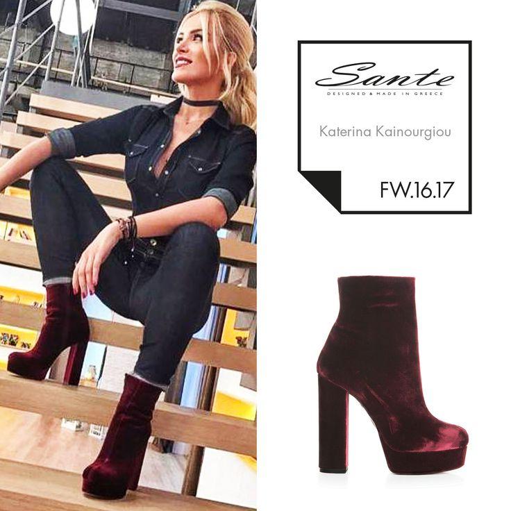 Katerina Kainourgiou (@katken85) in SANTE Booties styling by Georgia Pantele (@gpantele) #SanteFW1617 #CelebritiesinSante Available in stores & online (SKU-94411): www.santeshoes.com