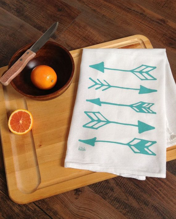 Tea Towel - Aqua Teal Mint Arrows Flour Sack Screen Printed Cotton Dish Cloth Kitsch Katniss