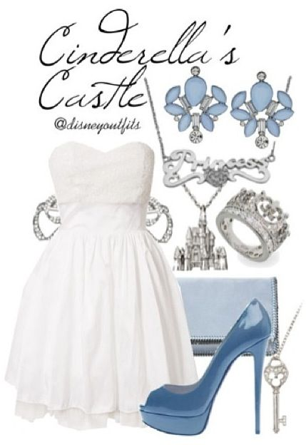 I would love to visit Cinderella's Castle in this gorgeous white, blue, and silver Disneybound outfit!! ♥