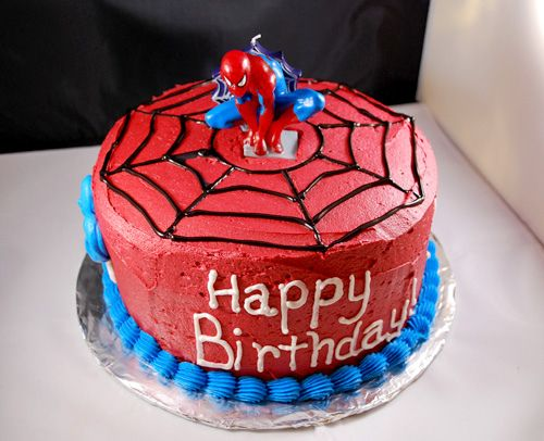 Simple Spiderman cake idea for the boys birthday.  The inside is striped white cake with blue.