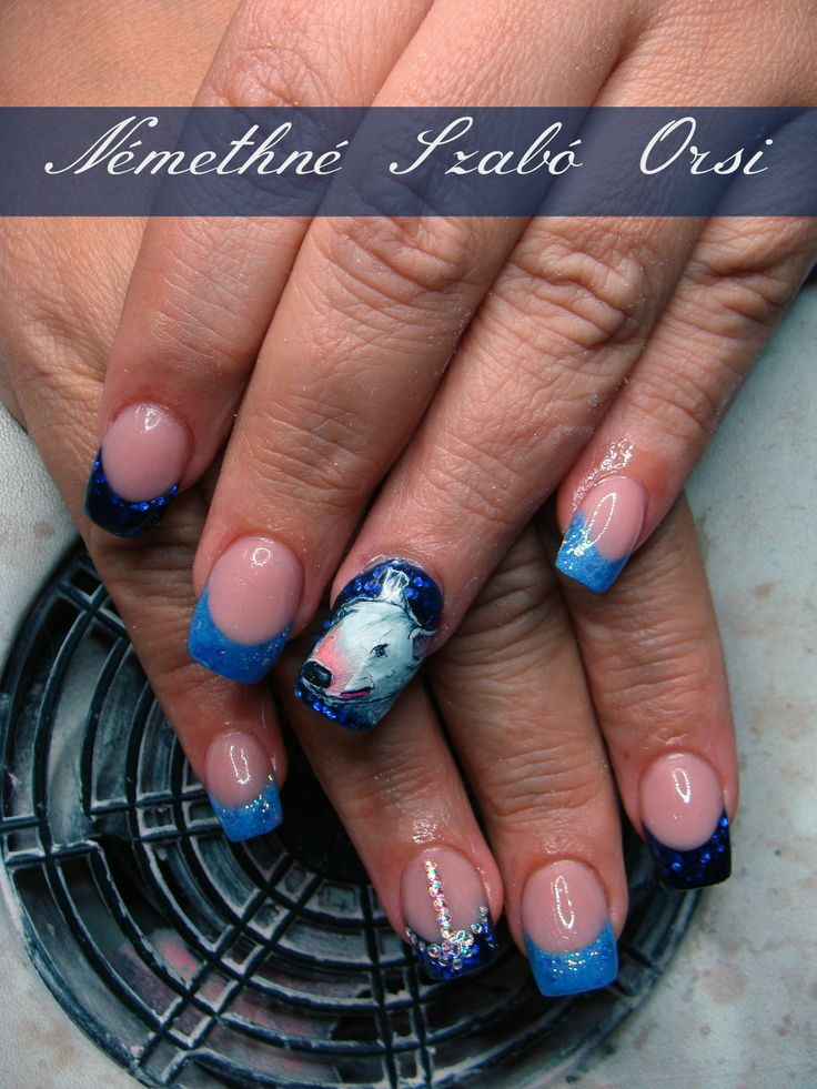 I made these nails for a Bull Terrier fans.