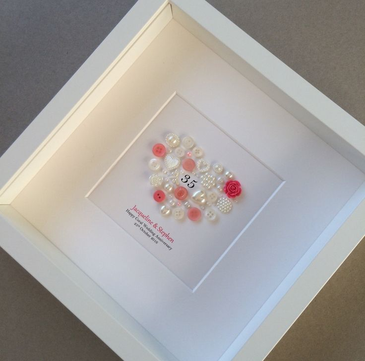 Coral Wedding 35th Anniversary Button Art Traditional