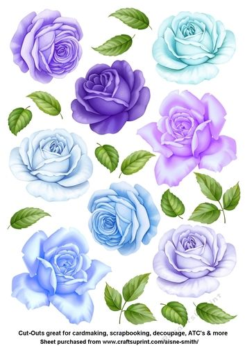 A sheet of roses cut-outs to be used for a variety of projects such as card making, tags, scrapbooking, decoupage and other paper crafts. Adjust print size for smaller roses.