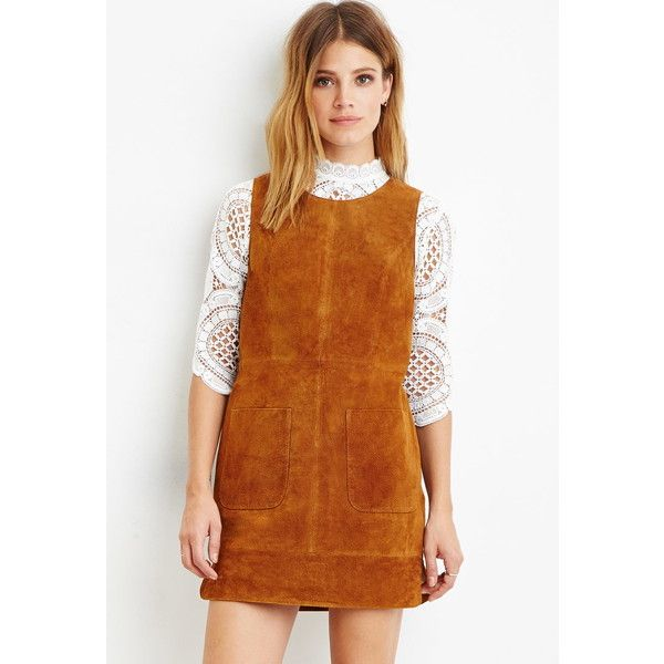 Love 21 Women's Contemporary Genuine Suede Shift Dress ($60) ❤ liked on Polyvore featuring dresses, love 21 dresses, full length dress, shift dress, brown shift dress and love 21