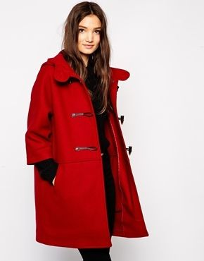$294, Red Duffle Coat: Sisley Ovoid Duffle Coat. Sold by Asos. Click for more info: https://lookastic.com/women/shop_items/146558/redirect