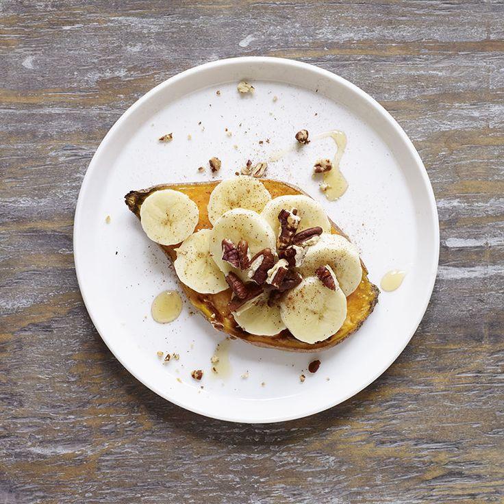 Sweet Potato Toast with Banana, Honey and Pecans | Healthy Recipes
