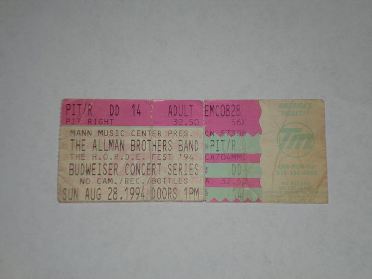 Allman Brothers Gregg Allman Concert Ticket Stub-1994-Mann Music Center-PA  | eBay