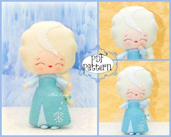 PDF. Elsa. Fairy tale pattern. Plush Doll Pattern, Softie Pattern, Soft felt Toy Pattern.