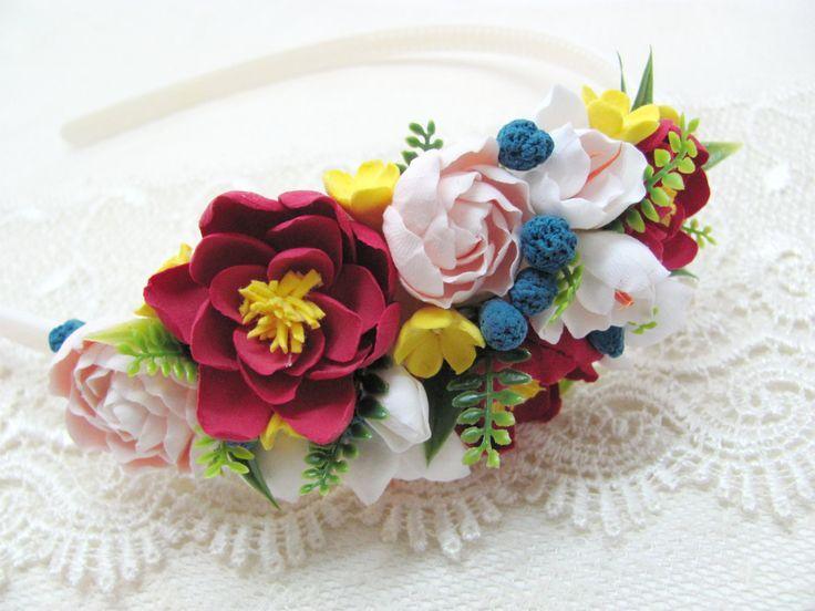 Hair Band, Headband, Hair Wreath, Flower Headband, Claycraft by Deco, Clay, Polymer Clay, Hairband, Woman, Girl, Hair Accessories, Flowers by MarinaShestorkina on Etsy