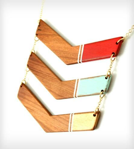 Wooden Chevron Necklace - Red, Mint, and Gold by The Knotty Owl on Scoutmob Shoppe