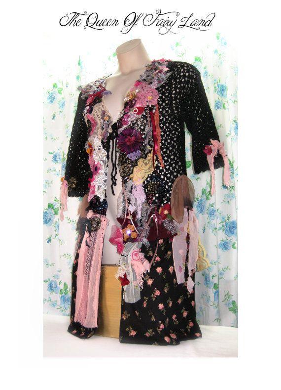 Art-to-Wear L Sweater Dress Victorian junk gypsy style