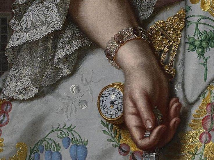 Portrait of Charlotte Beatrix Strick van Linschoten, Mattheus Verheyden, 1755 (detail)