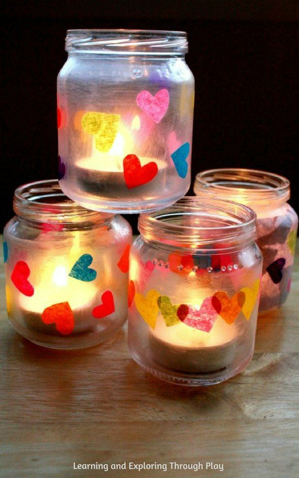 Heart Luminaries. Heart crafts for kids. Valentines crafts for kids.