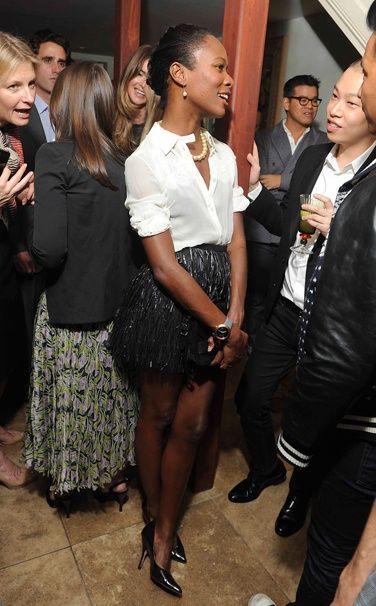 Shala Monroque - Jason Wu blouse, Rodarte skirt, Jean-Michel Cazabat shoes, Proenza Schouler purse, H&M earrings  WHERE:    CFDA/Vogue Fashion Fund cocktail party, New York  WHEN:    October 14, 2011             » VIEW RESULTS «
