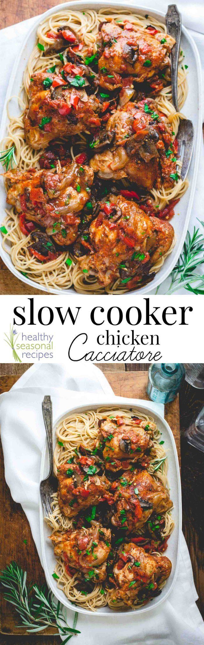 Blog post at Healthy Seasonal Recipes : This Slow Cooker Chicken Cacciatore is the latest in the series of healthy re-makes of the best classic comfort food recipes. Chicken Cacci[..]