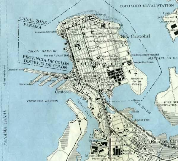 http://www.czbrats.com/Maps/CZaColon.jpg パナマ・コロン パナマ運河がアメリカ領だった当時の地図