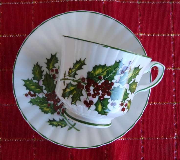 Royal Stafford Christmas Vintage Tea Cup and Saucer - Bone China Made in England - Holly Boughs with Green Trim by OfftheShelf2015 on Etsy