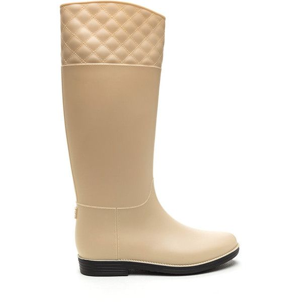 Quilted Touch Rain Boots NUDE ($20) ❤ liked on Polyvore featuring shoes, boots, tan, tan shoes, quilted shoes, wellies boots, wellington boots and rubber boots