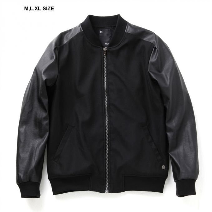 Leather sleeve varsity jacket  (High quality of soft fabrics used) Regular fit, waist length Zip closure  2 welt pockets in front Ribbing at collar, hem and cuffs
