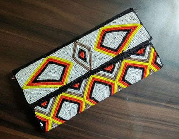 #Beaded #Purse #Tribal #pattern #Geometric #embroidered by EthnologyShop