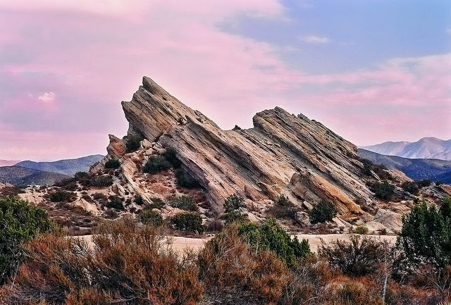 Vasquez Rocks in Santa Clarita. Named after Californio (Mexican-American) bandit Tiburcio Vasquez who used these rocks as a hideout for him and his gang.