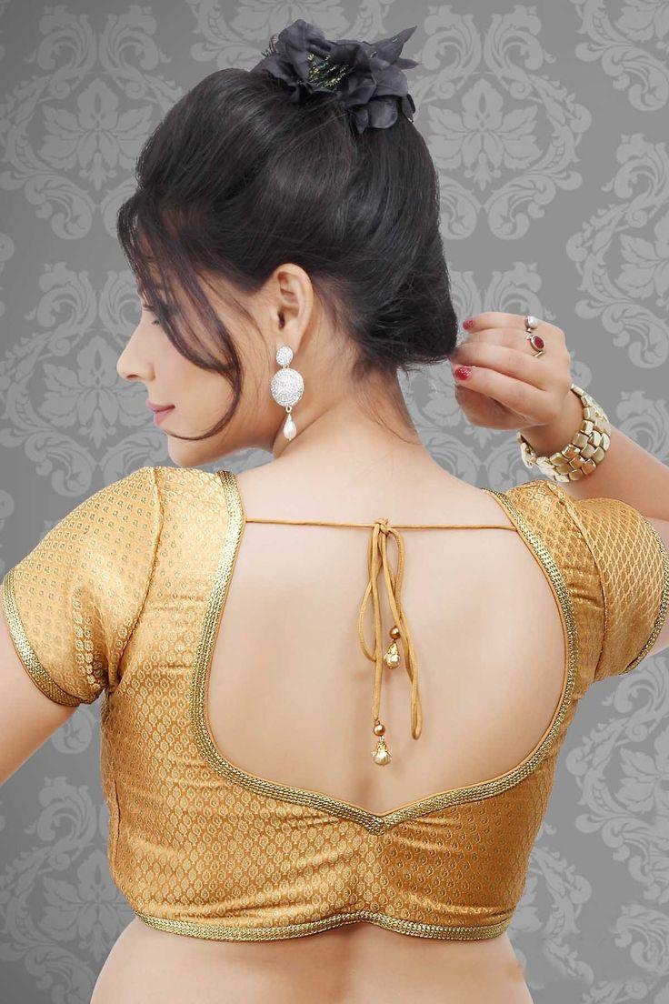 #Golden Banarasi Floral Print #Designer Saree #Blouse - BL345