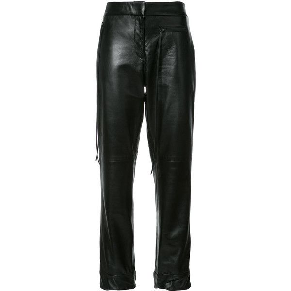 Hellessy Emir cuffed hem cigarette trousers ($1,750) ❤ liked on Polyvore featuring pants, black, cuff pants, cuffed pants, cigarette trousers, cuffed trousers and cigarette pants