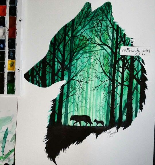 Wolf water color painting