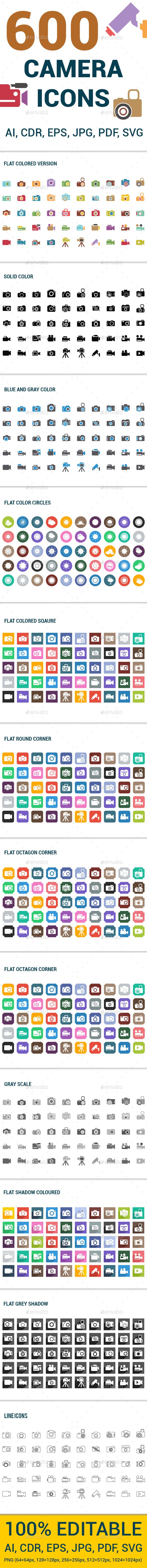 600 Camera Icons Set — Vector EPS #photo camera #film • Available here → https://graphicriver.net/item/600-camera-icons-set/13290381?ref=pxcr