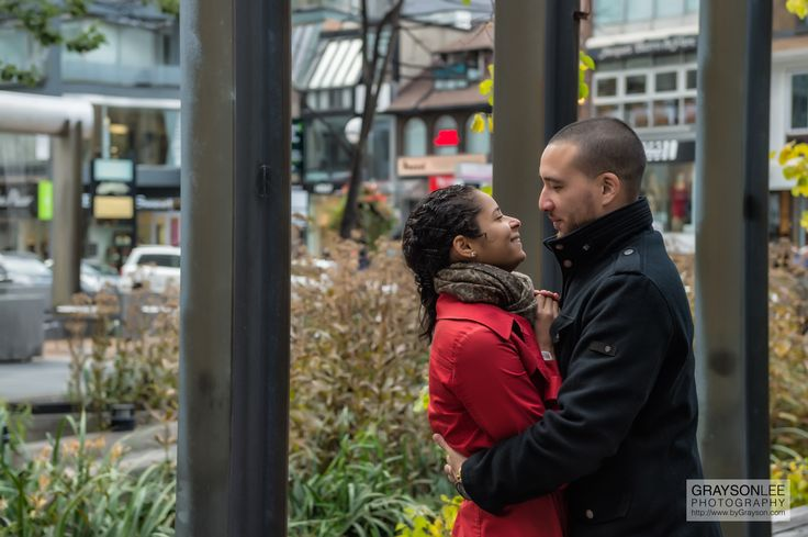 A beautiful couple shares a moment prior to their wedding in Yorkville, Toronto, Canada.