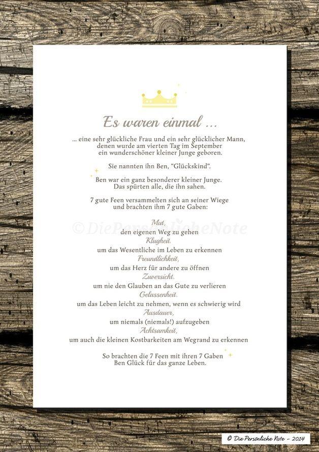 Wunderschönes personalisiertes Geschenk zur Geburt oder Taufe - Druck/Print: Segenswunsch für Kinder (Märchen)