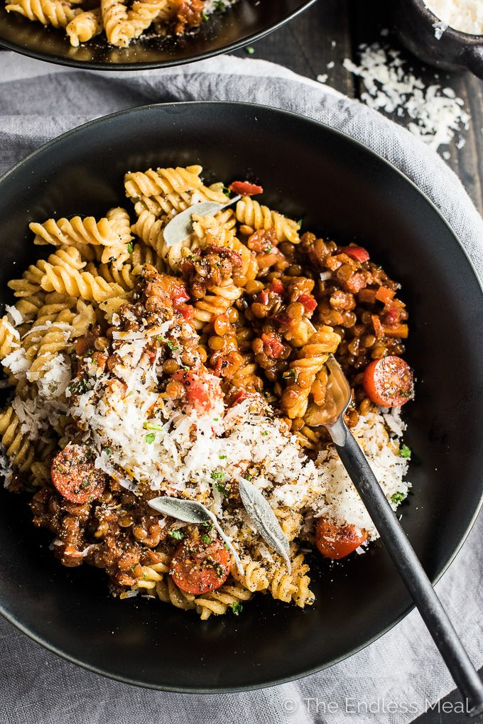 You won't miss the meat in this Vegan Lentil Bolognese. Caramelizing the onions, carrots, peppers, and tomato paste makes the sauce rich & deeply flavored.
