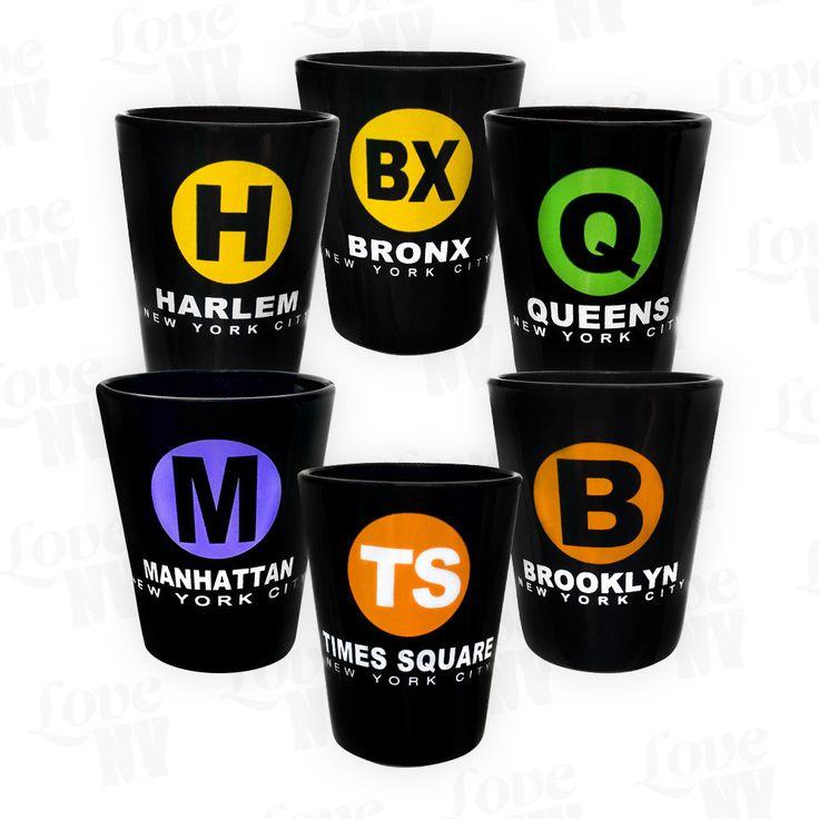 New York City Shotglas Stamper Schwarz #Alkohol #I-LOVE-NY #Kurzer #Stamper #Shotglas #Boroughs #NYC #NewYork #Vodka #Tequila #Alkohol #Alcohol
