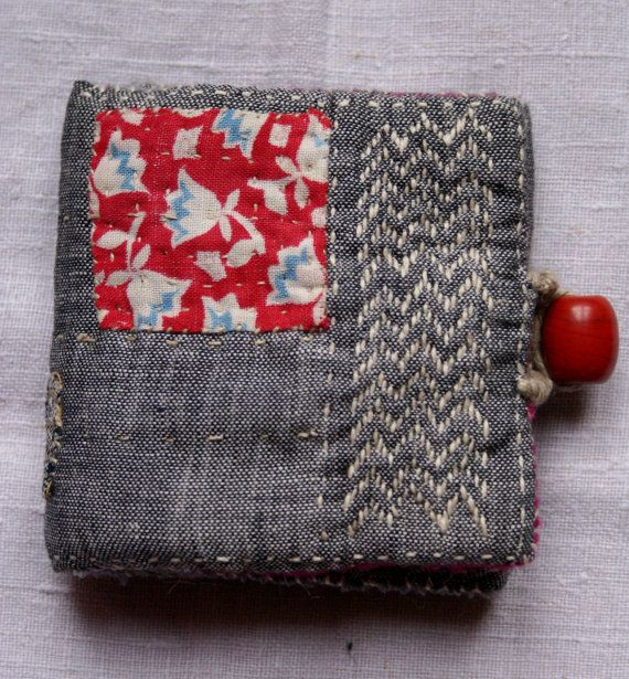 embroidered needle book made in linen, cotton, wool, vintage Nepalese bead by lesamovar